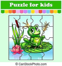 vector, princesa, adivinanza, worksheet., juego, rompecabezas, illustration., caricatura, preschool., educación, kids., style., frog., actividad, color aislado, page.