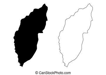 vector, principe, tomo, lemba, sao, santo, garabato, bosquejo, (democratic, thomas, república, ilustración, prince), mapa, distrito