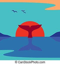 vector, propiedad limitada de ballena, minimalista, océano, plano, salida del sol