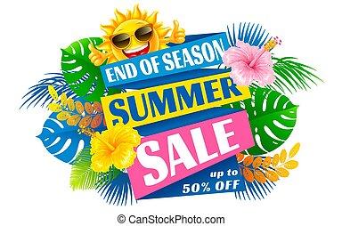 vector, publicidad, venta, fin, bandera, estación, verano, diseño