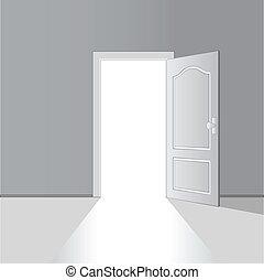 vector, puerta, abierto