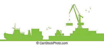 vector, puerto, concepto, transporte, barcos, industrial, ecología, costa, grúa