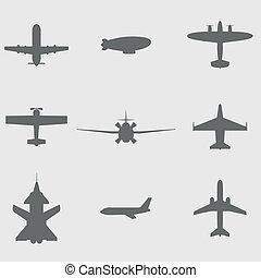 Vector puso iconos de avión
