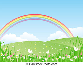 vector, rainbow., il, paisaje
