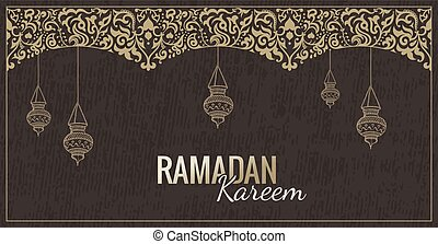 Vector ramadan kareem tarjeta de felicitación. Antecedentes islámicos.