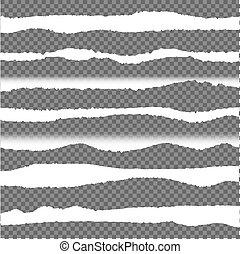 Vector rasgado bordes de papel, elementos de diseño establecidos.