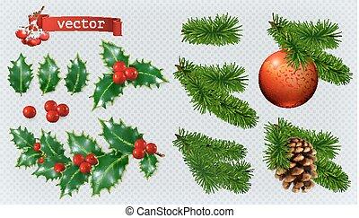 vector, realista, decorations., navidad, acebo, bayas, conjunto, picea, 3d, icono, conífera, rojo, chuchería, cone.