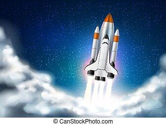 vector, realista, despegue, lanzadera, nave espacial, 3d