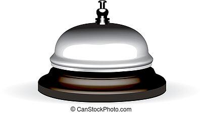 vector, realista, hotel, campana