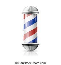 Vector realista, plateado antiguo y barbero de cristal con rayas rojas, azules y blancas.
