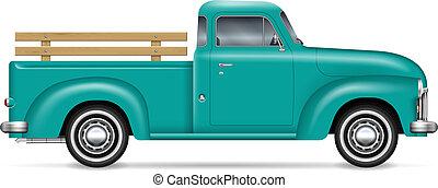 vector, recolección, clásico, camión, ilustración
