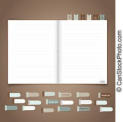 vector, recordatorio, cuaderno, eps10, note.