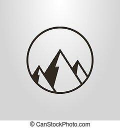 vector, redondo, geométrico, marco, símbolo, simple, montañas