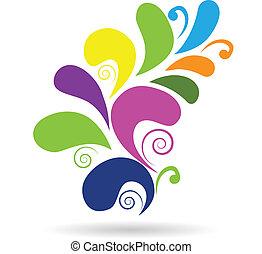 Vector remolino floral diseño colorido