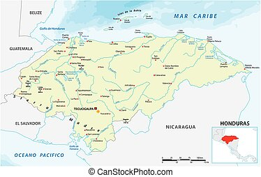vector, república, mapa, honduras, centroamericano