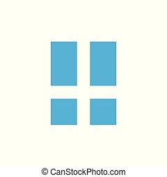 vector, resumen, logotipo, ventana, simple