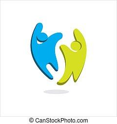 vector, resumen, plantilla, comunidad, logotipo, símbolo, 2, feliz, o, señal, gente, caridad, dos, diseño, unidad