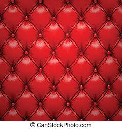 Vector rojo tapizado de cuero.