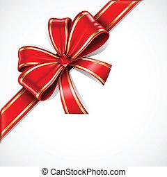 Vector rojo y dorado arco y cinta