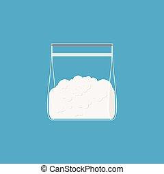 vector, sachet., bolsa, isolated., drogas, plástico, cocaína, ilustración