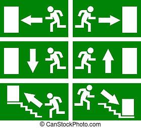 vector, salida, emergencia, señales