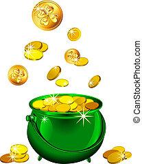 Vector San Patricio de Día Verde con monedas de oro