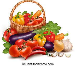 vector, sano, vegetales, ilustración, comida., basket., plano de fondo, fresco