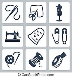 Vector sastre y iconos de costura