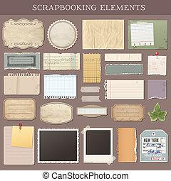 vector, scrapbooking, elementos