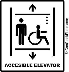 vector, señal, icono, incapacitado, ilustración, levantamiento