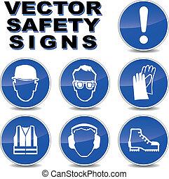 vector, seguridad, señales