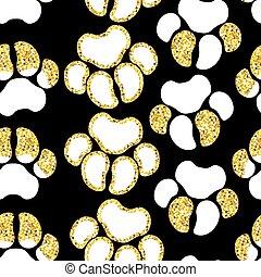 Vector semless dorado patrón con elementos temáticos de perros
