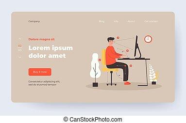 vector, sentado, posición, hombre, plano, escritorio, ilustración, correcto