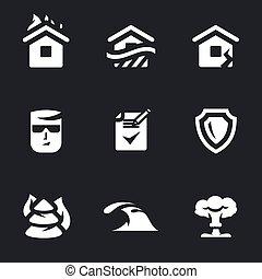 Vector serie de seguros, iconos.