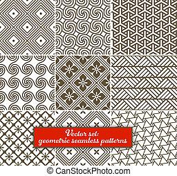 vector, set:, 9, geométrico, patterns., seamless
