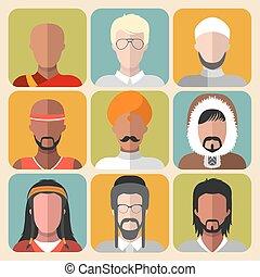 Vector set de diferentes íconos de nacionalidad hombre en estilo plano moderno.