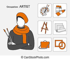 Vector set de iconos para artista