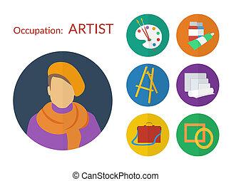 Vector set de iconos para artista, diseño plano