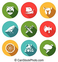 Vector set de iconos vikingos. Guerrero, barco, municiones, Dios, batalla, arma, protección, entierro, clima.
