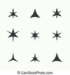Vector set de luces brillantes estrellas.
