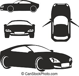 Vector silueta auto aislado en blanco