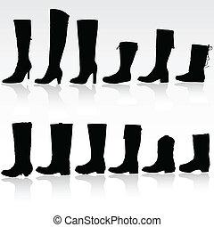 vector, silueta, botas