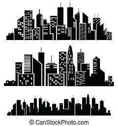 vector, silueta, ciudades