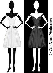 Vector silueta de chica con hermoso vestido