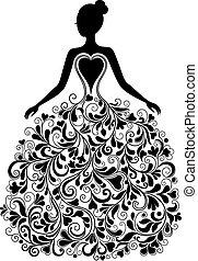 Vector silueta de hermoso vestido