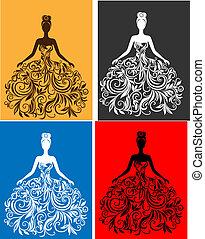 Vector silueta de joven con un vestido