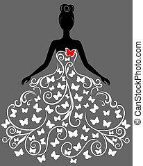 Vector silueta de jovencita vestida