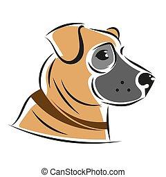 Vector silueta de perros, aislado en un fondo. Ilustración