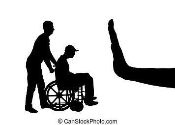 Vector silueta de triste discapacitado en silla de ruedas con enfermera y gesto de mano parada