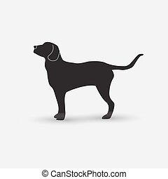 Vector silueta de un perro de fondo blanco.